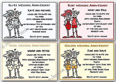 £3.75 • Buy Personalised Silver Pearl Ruby Golden Funny Wedding Anniversary Invitations X10