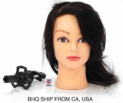 $39.99 • Buy 100% Real Hair Hairdressing Salon Practice Training Head + Mannequin Clamp