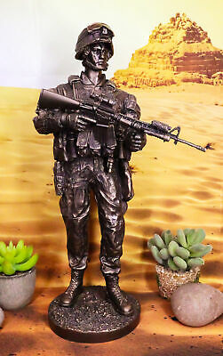 $77.99 • Buy US Military War Soldier Marine Rifleman On Guard Statue 13.5 Tall Infantry Unit