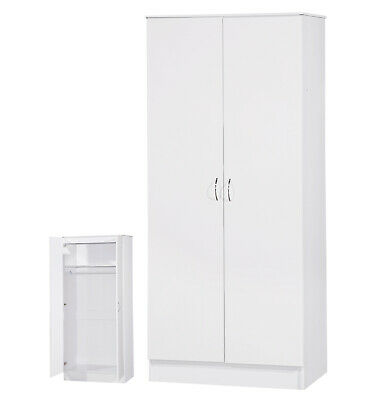 White Gloss 2 Door Soft Closing Wardrobe Large Furniture Unit FREE DELIVERY • 114.99£