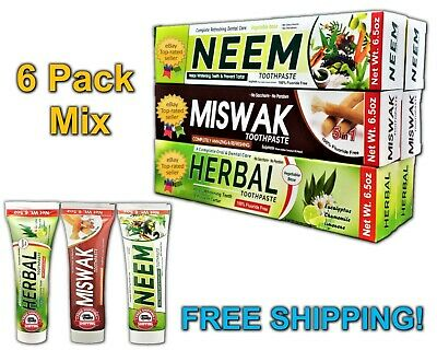 £14.12 • Buy 6 PACK MIX Neem Miswak Herbal Essential Toothpaste 5 IN 1 FORMULA Oral Care NEW