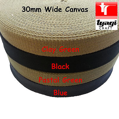 Canvas 100% Cotton 30mm Wide Bag Strap Belt Webbing Thick Fabric Handle Rucksack • 3.99£