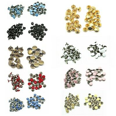 10mm Double Cap Tubular Rivets 100pcs For Sewing Belts Handbags Leather Crafts • 4.89£