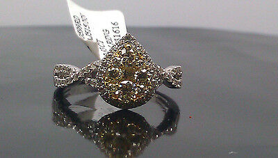 Real 14K White Gold Teardrop Shaped With 0.83 CT Yellow Canary Diamond Ring. • 793.51£