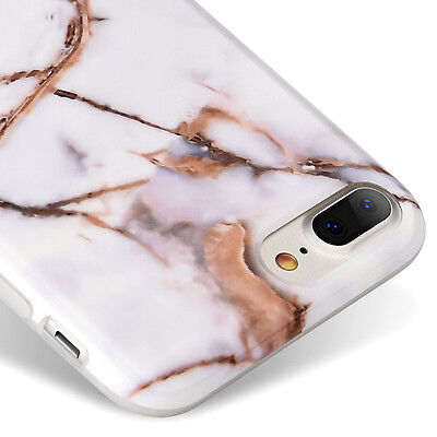 AU11.83 • Buy IPhone 7+ / 8+ Plus - Hard TPU Gummy Rubber Case Cover White Gold Marble Pattern