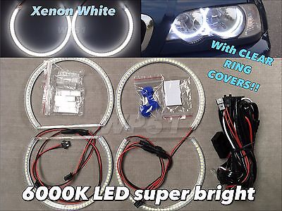 $59 • Buy LED SMD 6000K Angel Eye Halo Ring DRL Xenon White For 98-05 E46 4D W/ Projector