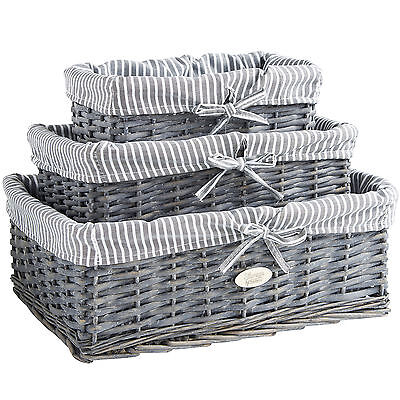 VonHaus Wicker Seagrass Storage Baskets Grey Bathroom Set Of 3 Cloth Lining  • 19.99£