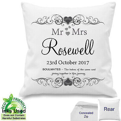 Personalised Wedding Day Mr Mrs Cushion Soulmate Anniversary Cotton Gift 18x18  • 10.50£