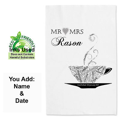 Personalised Wedding Day Tea Towel, 2nd Anniversary Cotton Towel Valentines Gift • 7.99£
