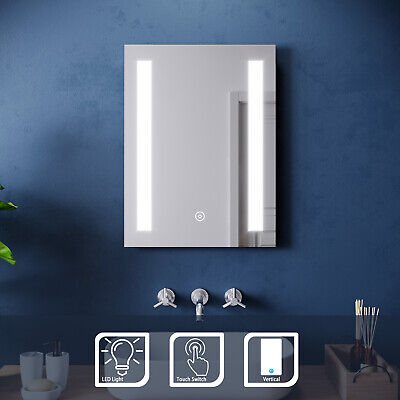 Modern LED Illuminated Bathroom Mirror With Touch Sensor Switch Wall Mounted • 59.99£
