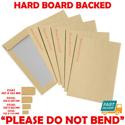 £1.25 • Buy Hard Card Board Back Backed 'please Do Not Bend' Envelopes Manilla Brown