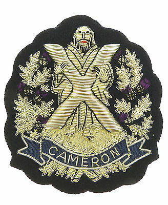 Queens Own Cameron Highlanders Deluxe Hand Made Silver Bullion Wire Blazer Badge • 23.99£
