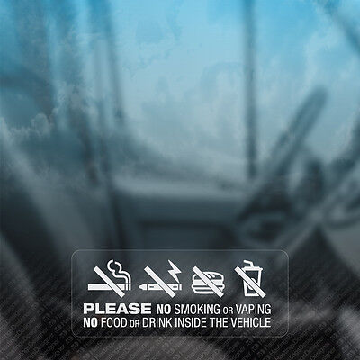 $ CDN4.02 • Buy 3x NO SMOKING VAPING FOOD DRINK IN VEHICLE Notice Car,Van,Taxi,Window Stickers