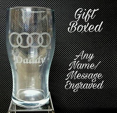 PERSONALISED AUDI LOGO PINT GLASS WITH YOUR NAME / MESSAGE Gift Box • 9.95£