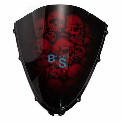 $139 • Buy Airbrushed Red Skull Windscreen Windshield Fit Kawasaki Fairing Motorcycle BSE