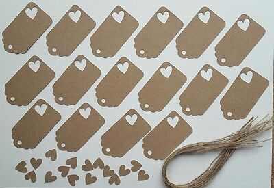 Gift Tags With Heart Cut Out Made From Recycled Kraft Card X 16 280gsm  • 2.99£