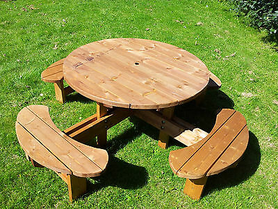 Commercial Grade Supersized Excalibur Round Picnic Table Code SSEXCAL 38mm Thick • 295£