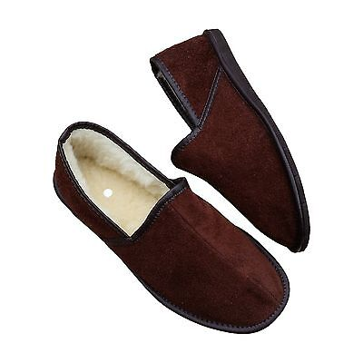 Men's Sheepskin Slippers Wool Brown Suede Shoes Size 6.5 - 11 Full Moccasins • 12.99£