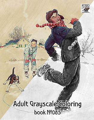 $ CDN12.43 • Buy Adult Coloring Book (24 Pages) Everyday Life Norman Rockwell FLONZ Grayscale 085