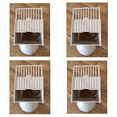 4 X CANARY NEST PAN PLASTIC BOX HANGS ON OUTSIDE OF CAGE IDEAL FOR SMALL BIRDS • 13.85£