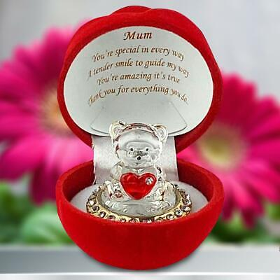 Mothers Day Gifts Teddy Bear Plaques Cuddle Cup Cake Box Mum Presents Crystal • 7.99£