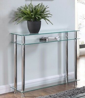 Glass Console Table Clear Or Black Glass Chrome Legs 2 Tier Modern Hall Table • 68.99£