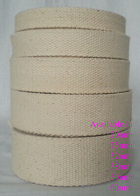 £3.99 • Buy Cotton Canvas Strap Tape 100% Natural All Width Webbing Upholstery Craft
