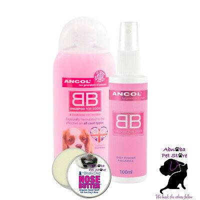 Ancol Baby Powder Fragrance Cologne, Shampoo & Blissful Dog Nose Butter Gift Set • 21.99£