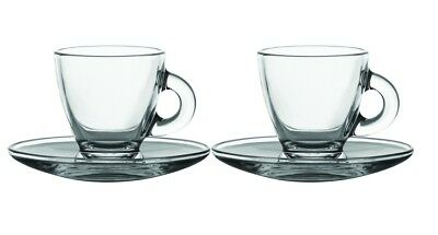 £7.49 • Buy 2 Glass Espresso Cups & Saucers Serving Set 8cl 80ml Coffee Shot Mugs