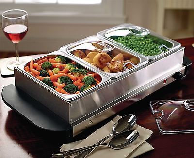 Buffet Food Warmer Hot Plate Stainless Steel Table Top Tray Dish Server Electric • 29.95£