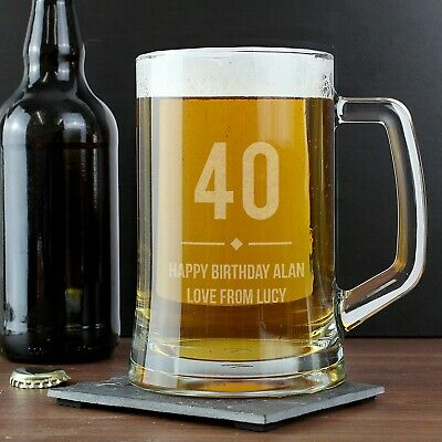 Personalised Tankard Beer Glass ( Any Age ) 18th 21st Birthday Gift For Him - UK • 12.99£