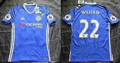 Willian #22 CHELSEA LONDON Home Shirt Jersey ADIDAS Patch 2016-2017 Men Adult S • 58.65£