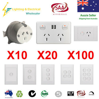 AU32.99 • Buy Surface Socket Plug Double Power Point USB Wall Socket Outlet GPO Light Switch