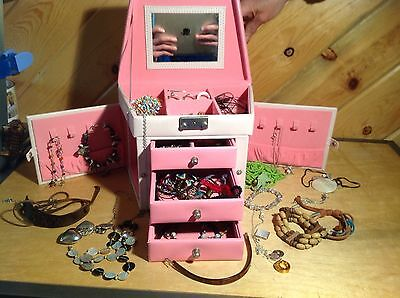 $ CDN40.22 • Buy Vintage Faux Leather Jewelry Box Organizer Gift Case Pink W/ Lots Of Jewelry!!