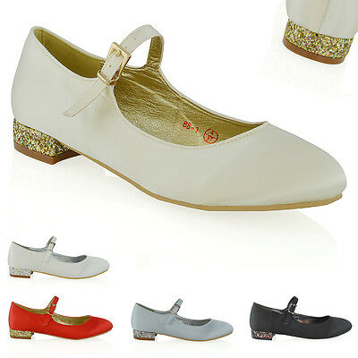 £11.99 • Buy Womens Bridal Court Shoes Mary Jane Low Heel Ladies Bridesmaid Satin Pumps Size