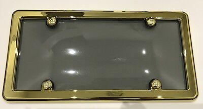 $9.49 • Buy UNBREAKABLE Tinted Smoke License Plate Shield Cover + GOLD Frame For CADILLAC