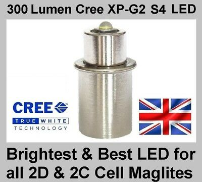 MAGLITE LED UPGRADE BULB Cree TTS Conversion For 2D & 2C Cell Torch Flashlight • 12.95£