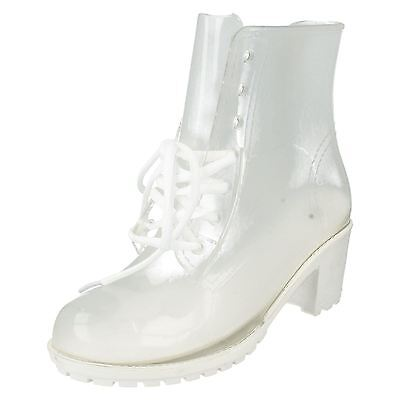 £12.99 • Buy Spot On F50194 White Transparent 2.5  Block Heeled Fashionable Wellies FESTIVALS