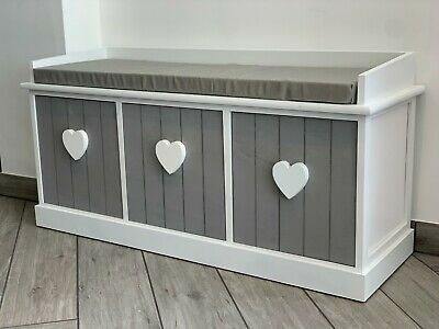 Grey White Vintage Wooden Storage Unit Bench Seat Shabby Chic 3 Drawers Cushion  • 129.99£