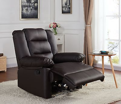 Real Leather Bonded Recliner Lounge Chair Brown Black Luxury Living Reclining • 189.99£