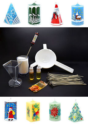 Complete Starter Candle Making Kit Craft Accessory Set Wicks Wax Christmas 7 Pcs • 31.88£