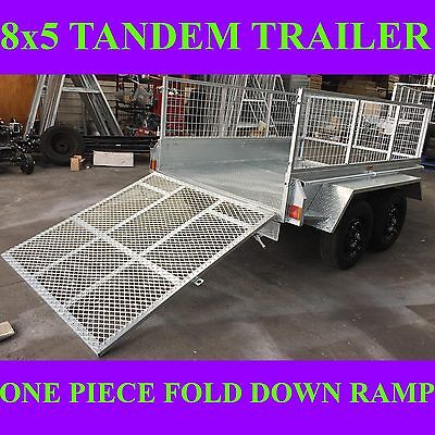 AU2899 • Buy 8x5 Galvanised Tandem Box Trailer With Crate And Ramp 2000kgs Atm Heavy Duty