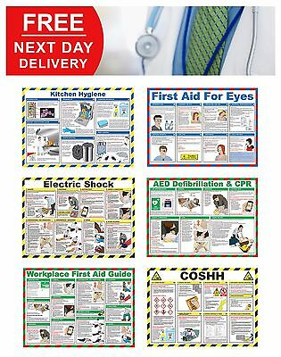 £20.70 • Buy First Aid Laminated Health & Safety Posters A2 Landscape Durable Hazard Sign