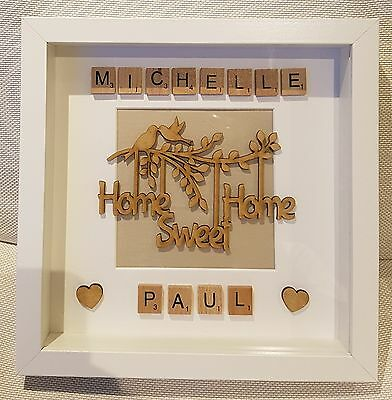 £18.50 • Buy Personalised Home Sweet Home Picture Box Frame Gift Scrabble Letters Lovely!