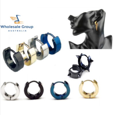 AU16.95 • Buy 2pc Pair Hoop Huggie Sleeper Earrings Mens Kpop Kids Punk Black Silver Gold Blue