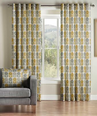 £46.55 • Buy One Pair Of MONTGOMERY Modern Fresh Floral Design Uppsala Eyelet Lined Curtains