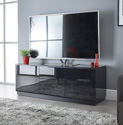 Black TV Stand Cabinet Glass IR Friendly Door For 32 42 55 65 75 Inch LCD Tv    • 449£