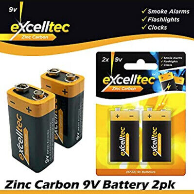 Pack Of 2 9v Batteries - 6F22 MN1604 6LR61 PP3 - Zinc Carbon 9 Volt Battery • 2.99£