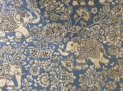 Indian Elephant Batik Cotton Indigo Blue 140cm Wide Curtain/Craft Fabric  • 1.99£