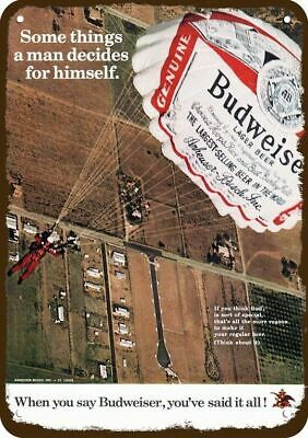 $ CDN30.37 • Buy 1972 BUDWEISER BEER Vintage Look DECORATIVE METAL SIGN - SKYDIVING BUD PARACHUTE